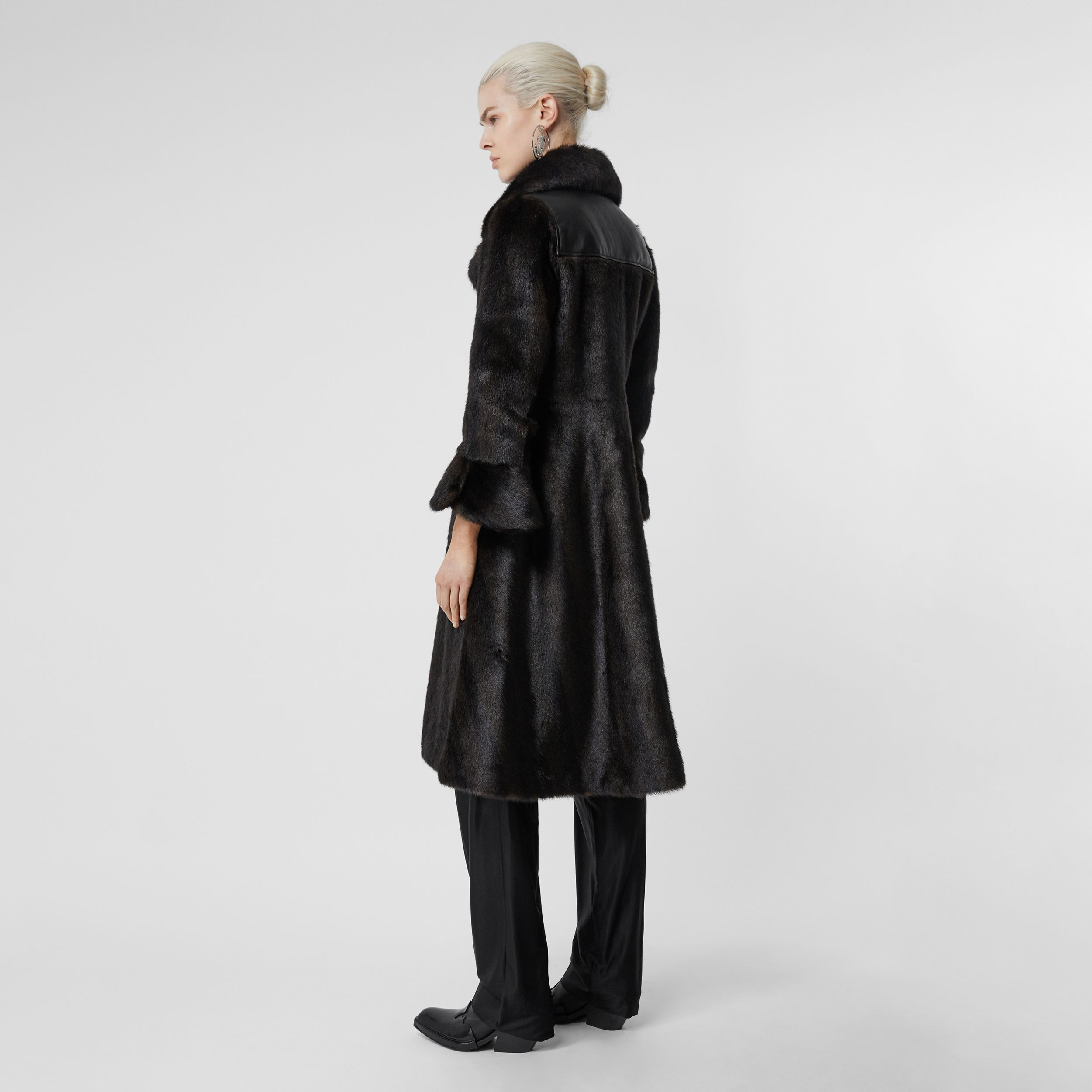 Waistcoat Detail Faux Fur Coat in Black - Women | Burberry - 3