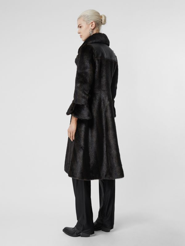 Waistcoat Detail Faux Fur Coat in Black - Women | Burberry - cell image 2