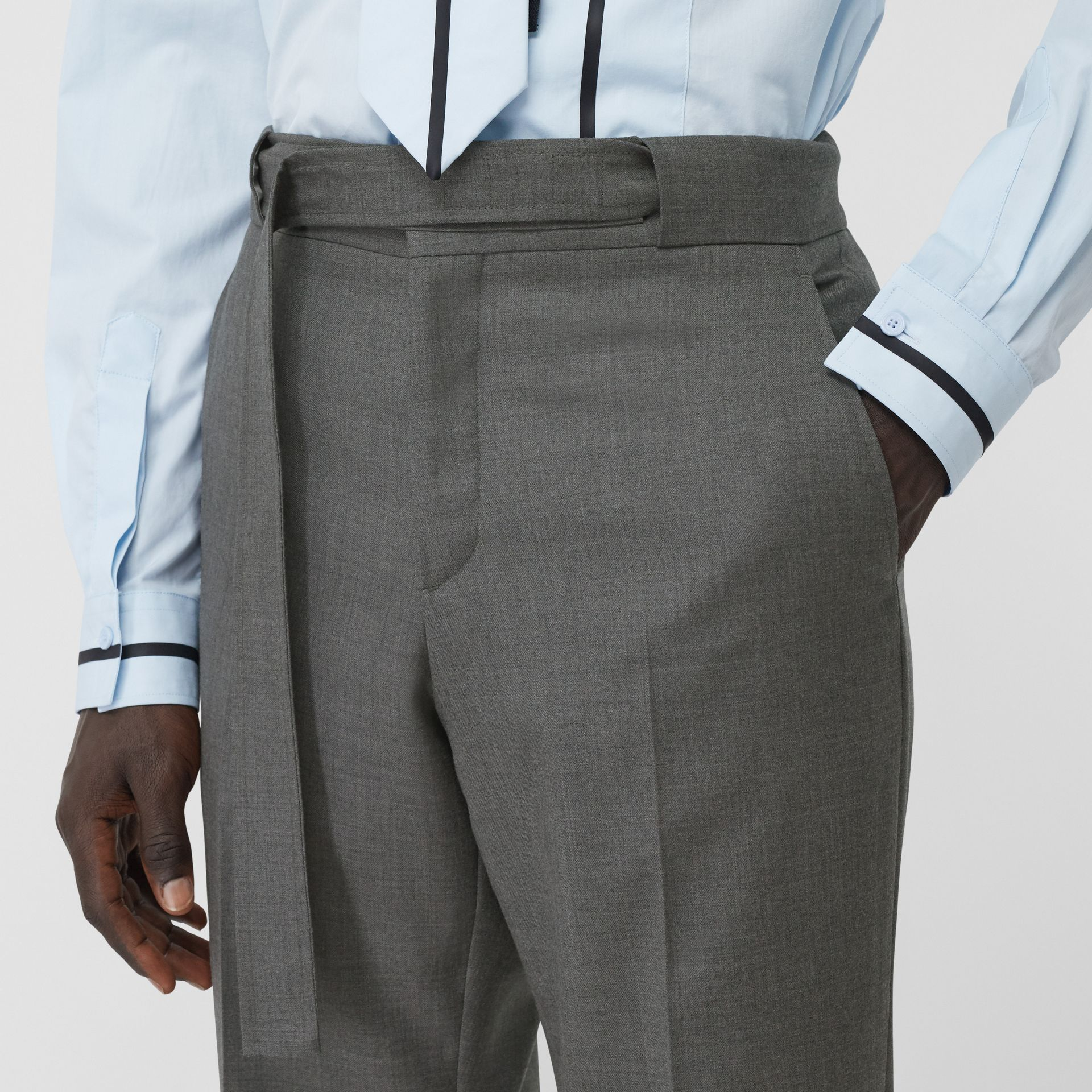 English Fit Belt Detail Wool Tailored Trousers in Charcoal Grey | Burberry Canada - gallery image 1