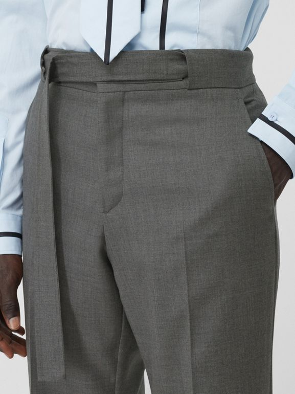 English Fit Belt Detail Wool Tailored Trousers in Charcoal Grey | Burberry Canada - cell image 1