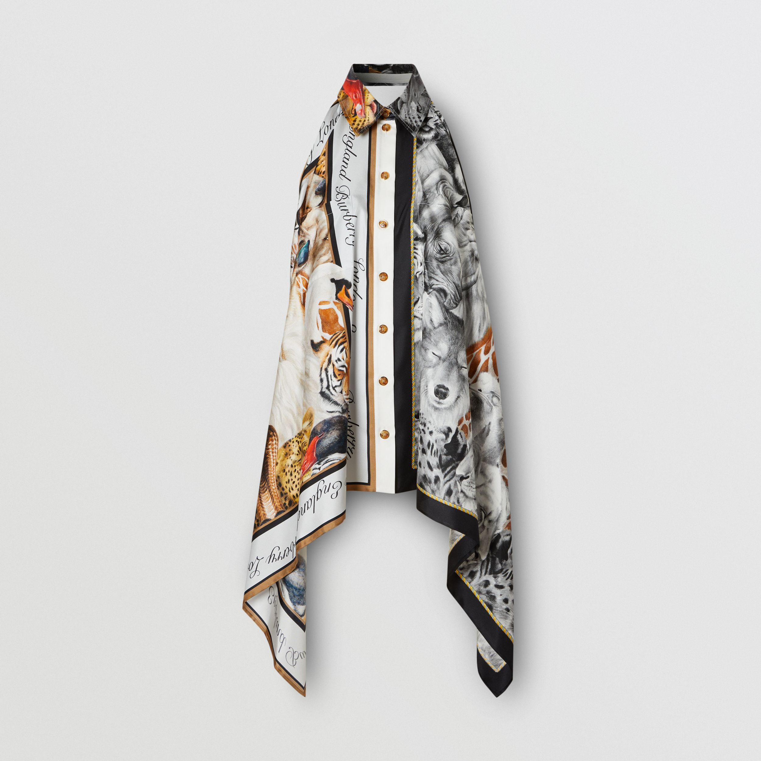 Animalia Print Silk Scarf Panel Bodysuit in Grey Melange - Women | Burberry - 4