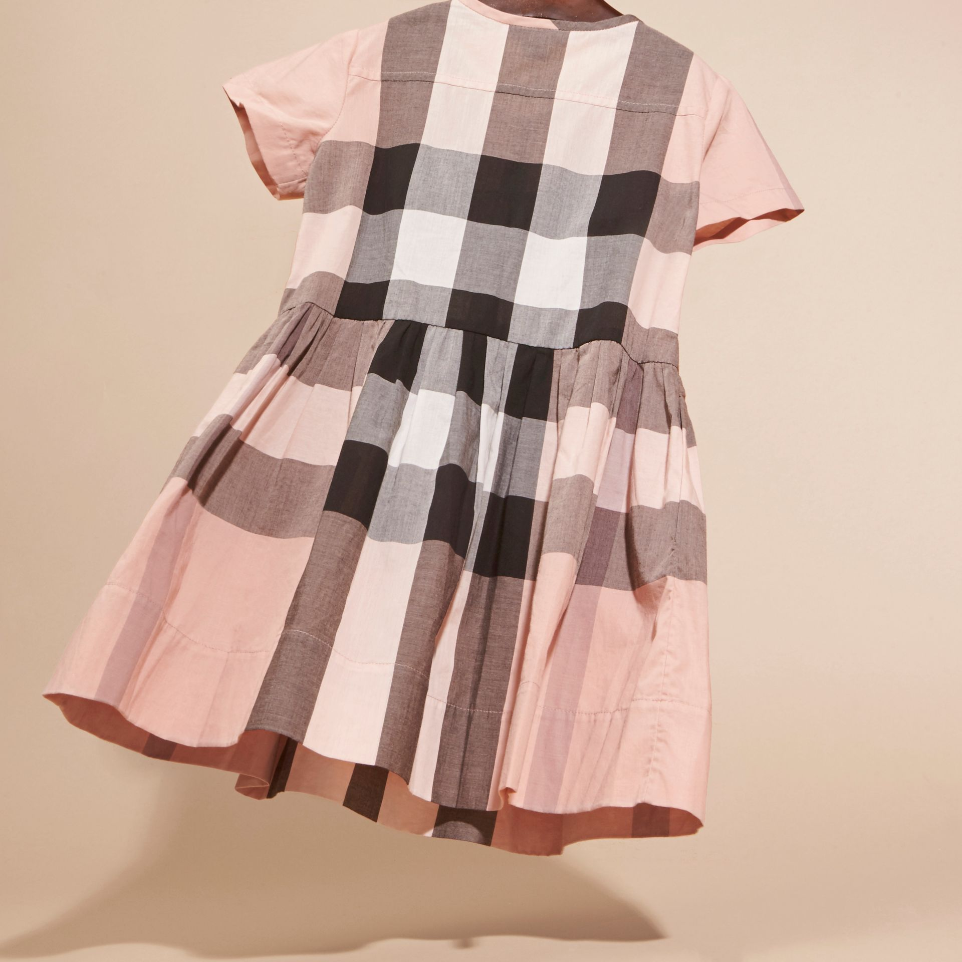 Antique pink Pleat Detail Check Cotton Dress - gallery image 4