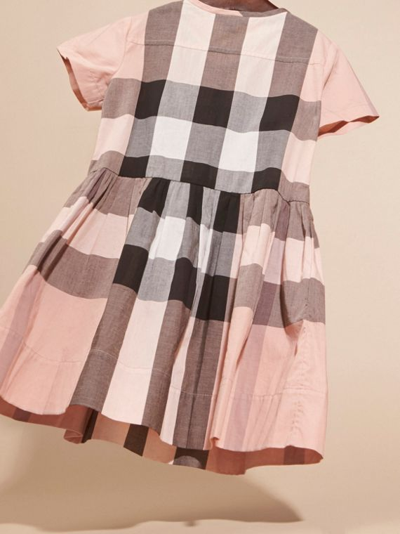 Antique pink Pleat Detail Check Cotton Dress - cell image 3