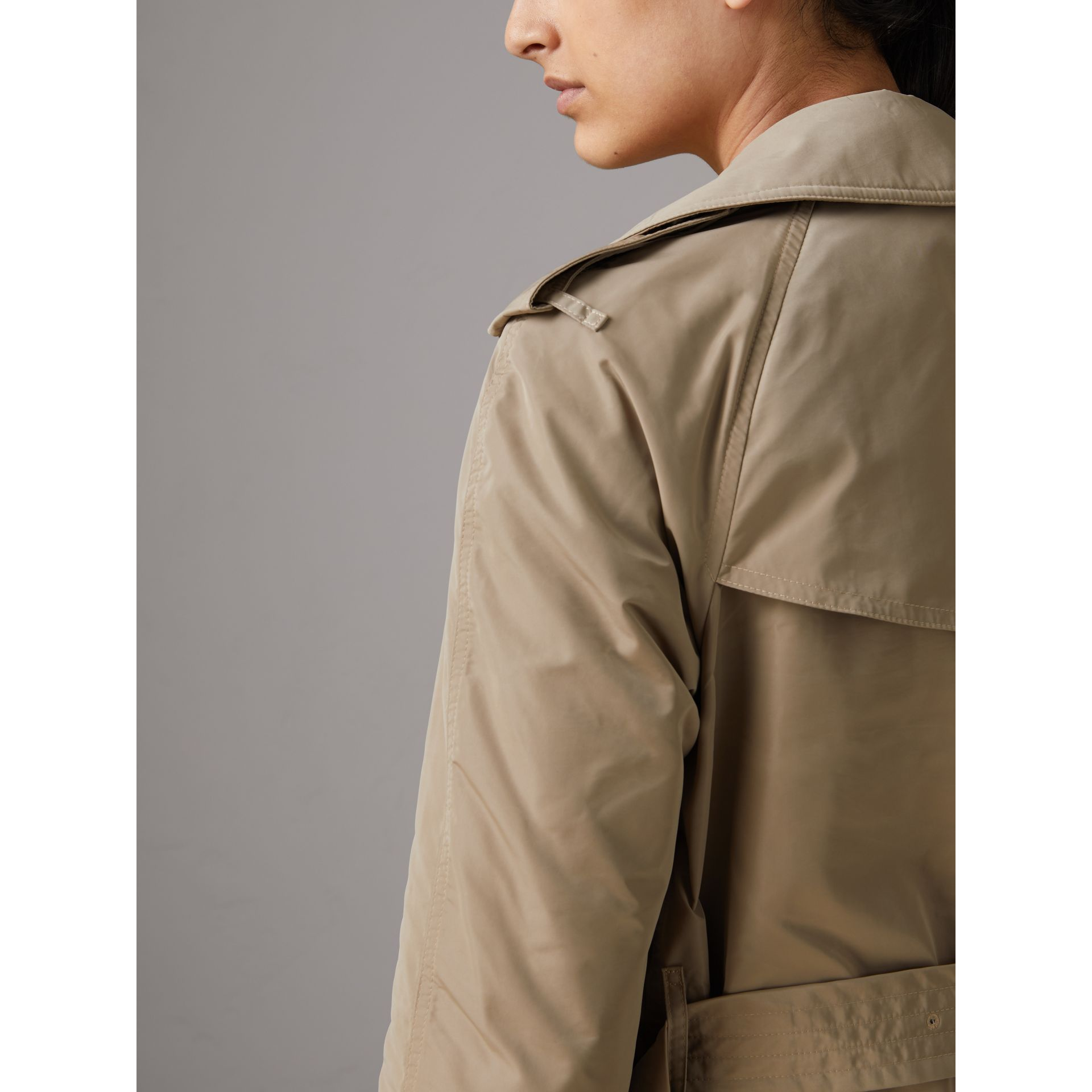 Detachable Hood Shape-memory Taffeta Trench Coat in Sisal - Women | Burberry - gallery image 6