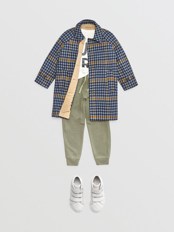 Reversible Check Wool and Cotton Car Coat in Canvas Blue | Burberry - cell image 2
