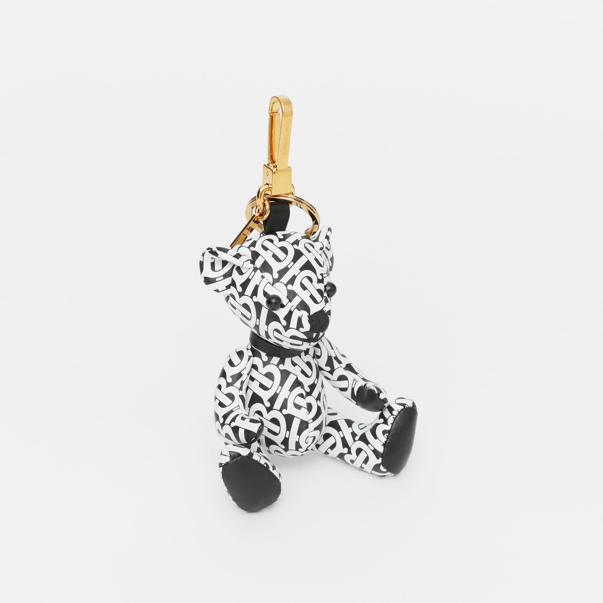 Thomas Bear Charm in Monogram Print Leather in Black/white - Women | Burberry - gallery image 0