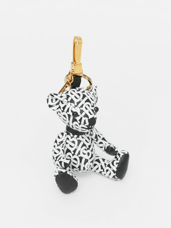 Thomas Bear Charm in Monogram Print Leather in Black/white