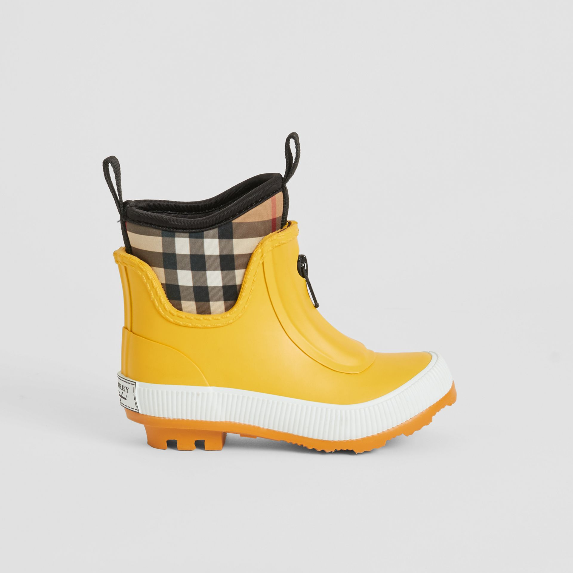 Vintage Check Neoprene and Rubber Rain Boots in Vibrant Lemon - Children | Burberry - gallery image 3