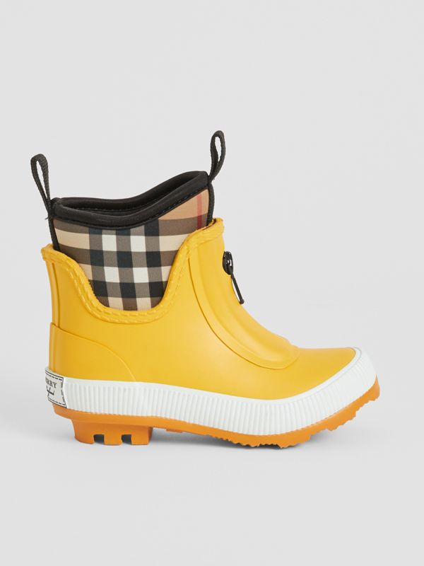 Vintage Check Neoprene and Rubber Rain Boots in Vibrant Lemon - Children | Burberry Australia - cell image 3