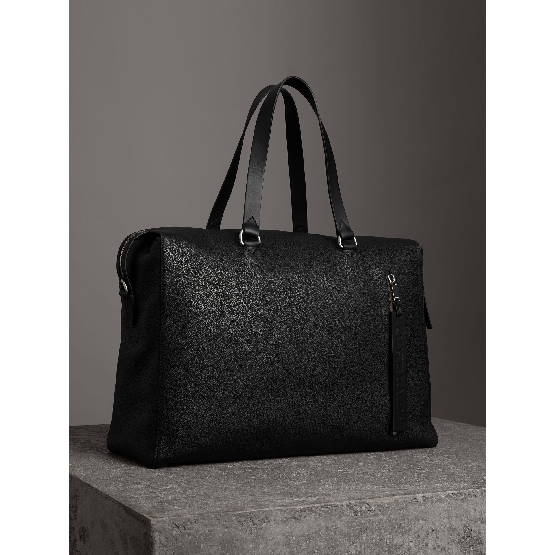 Embossed Grainy Leather Holdall in Black - Men | Burberry - gallery image 6