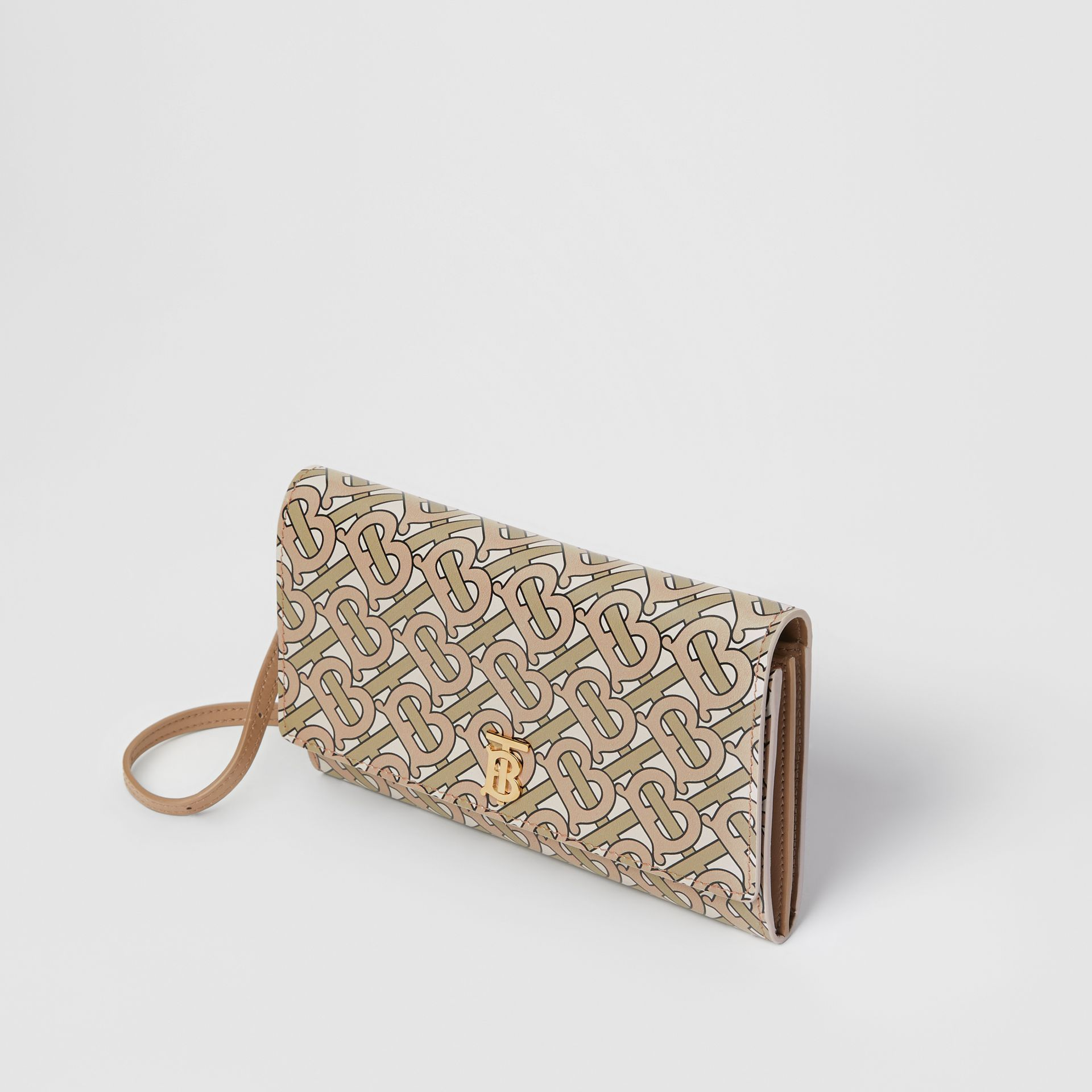 Portefeuille en cuir Monogram avec sangle amovible (Beige) - Femme | Burberry - photo de la galerie 3