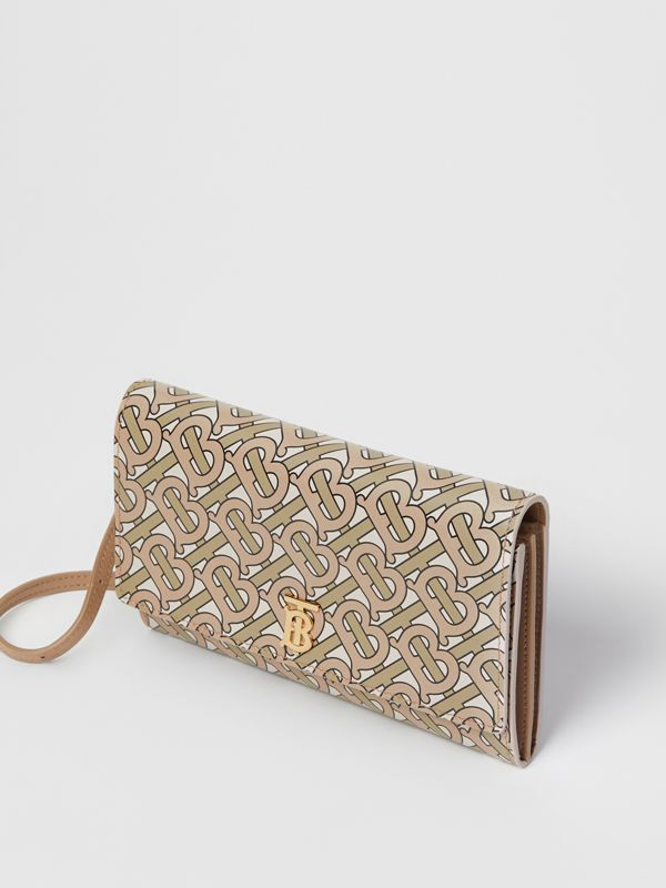 Monogram Print Leather Wallet with Detachable Strap in Beige - Women | Burberry United States - cell image 3
