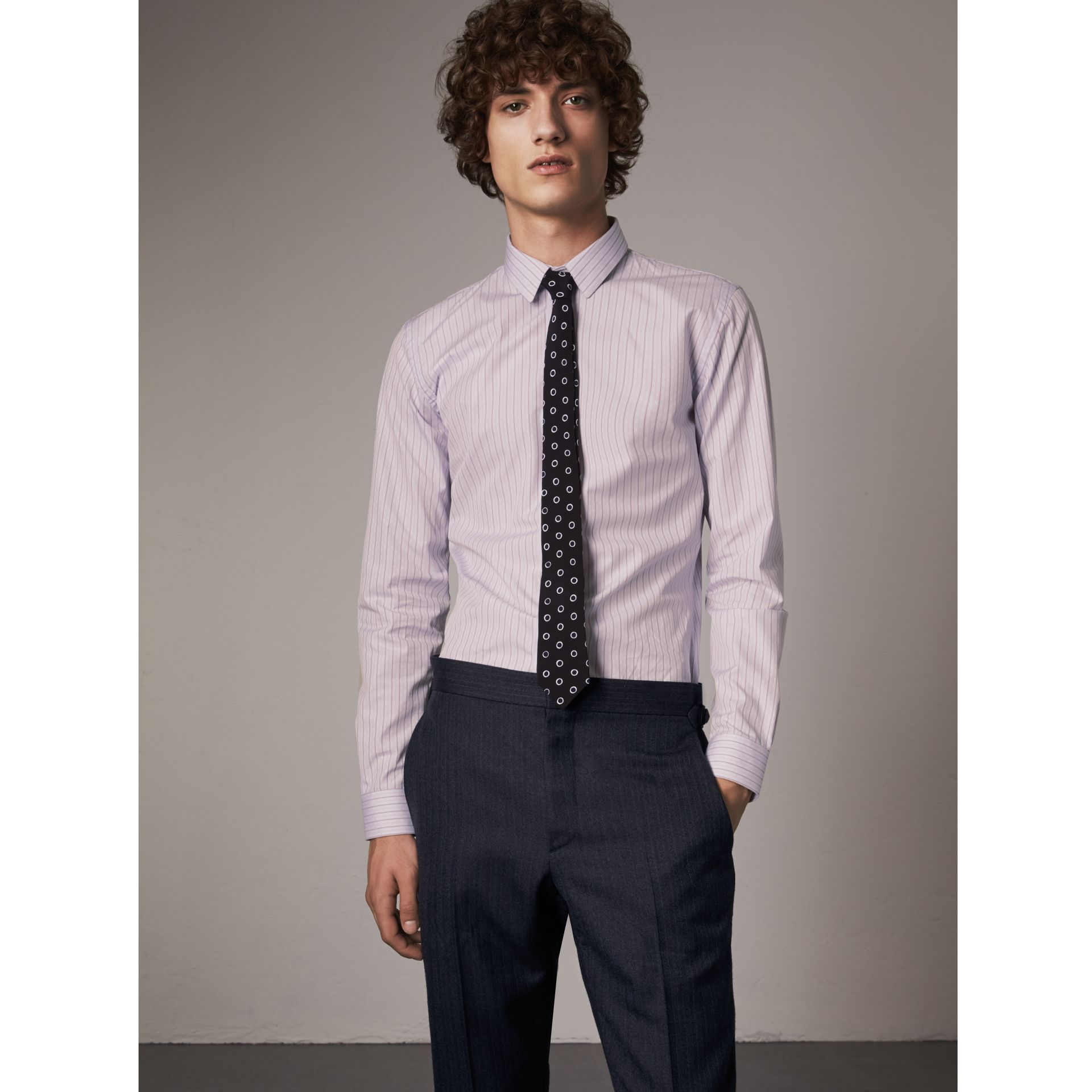 Slim Fit Striped Dobby Cotton Shirt in Pale Lilac - Men | Burberry - gallery image 0