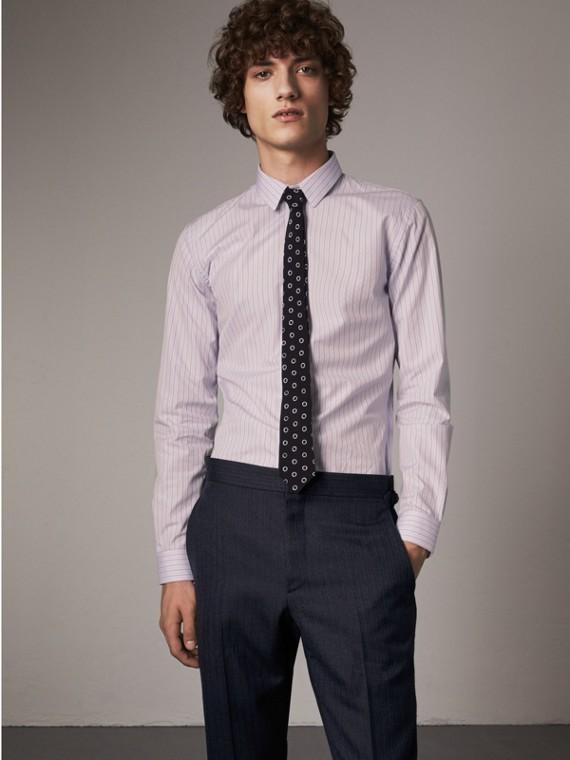 Рубашка из хлопка «добби» в полоску (Светло-сиреневый)