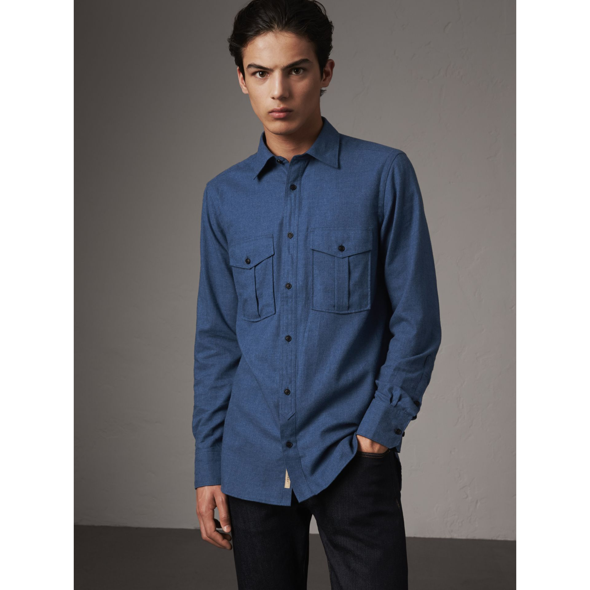 Lightweight Cotton Flannel Shirt in Canvas Blue - Men | Burberry - gallery image 1