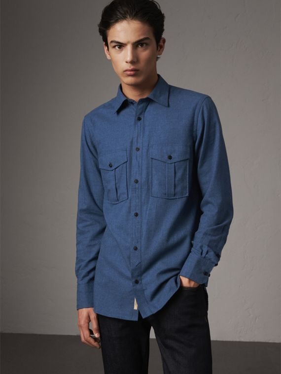 Lightweight Cotton Flannel Shirt in Canvas Blue