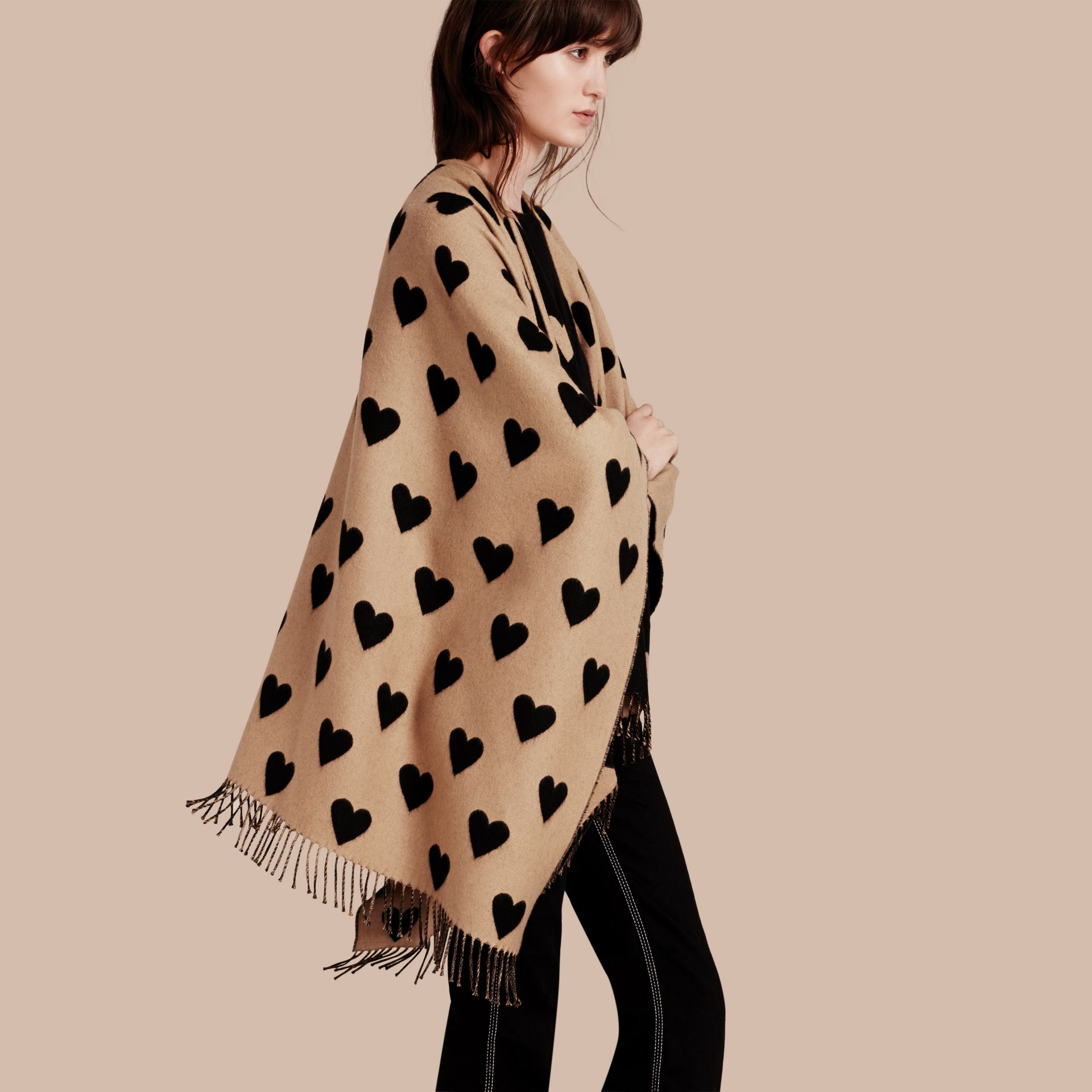 Heart Jacquard Merino Wool Poncho in Camel/black - gallery image 1