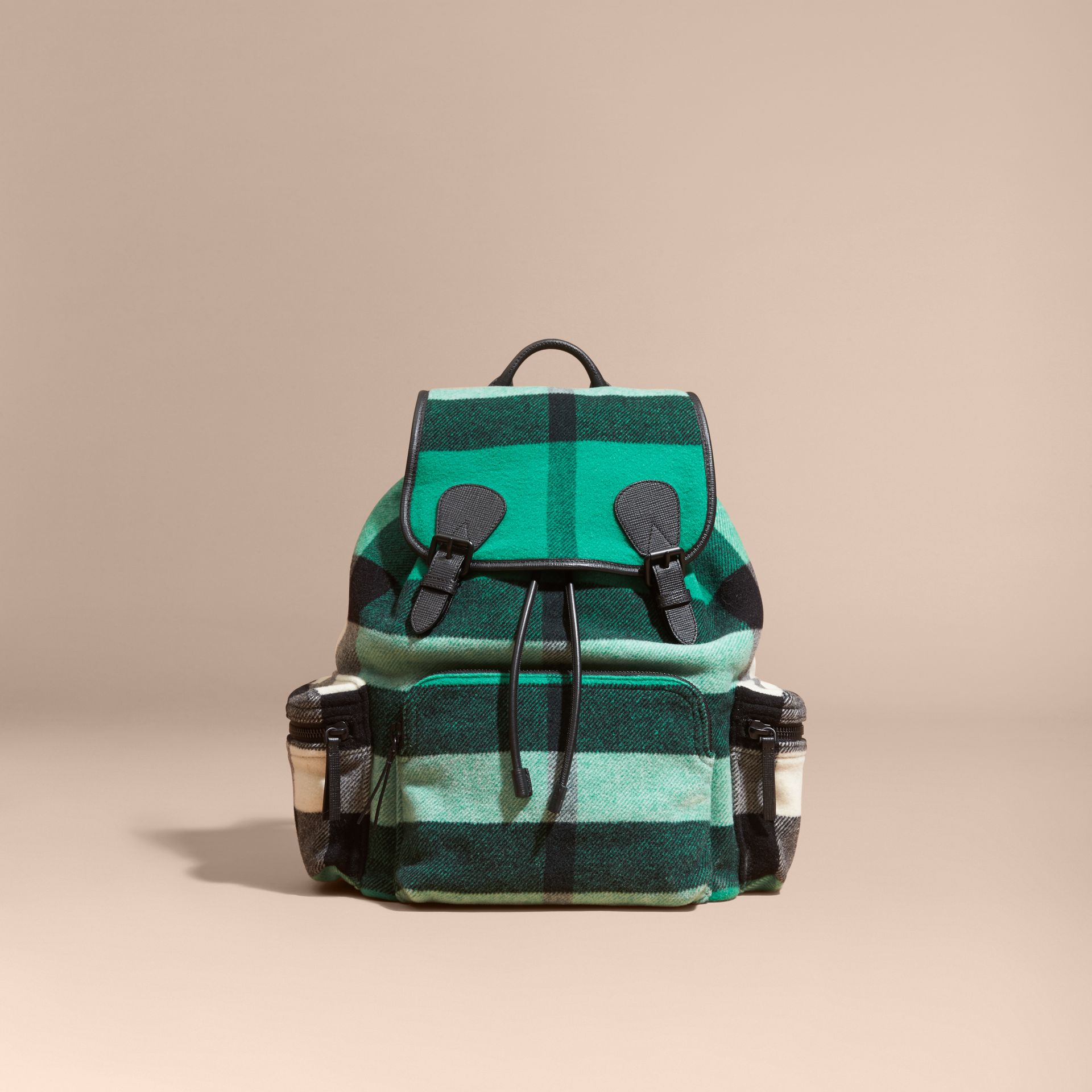 Emerald The Large Rucksack in Check Wool Blend and Leather Emerald - gallery image 9