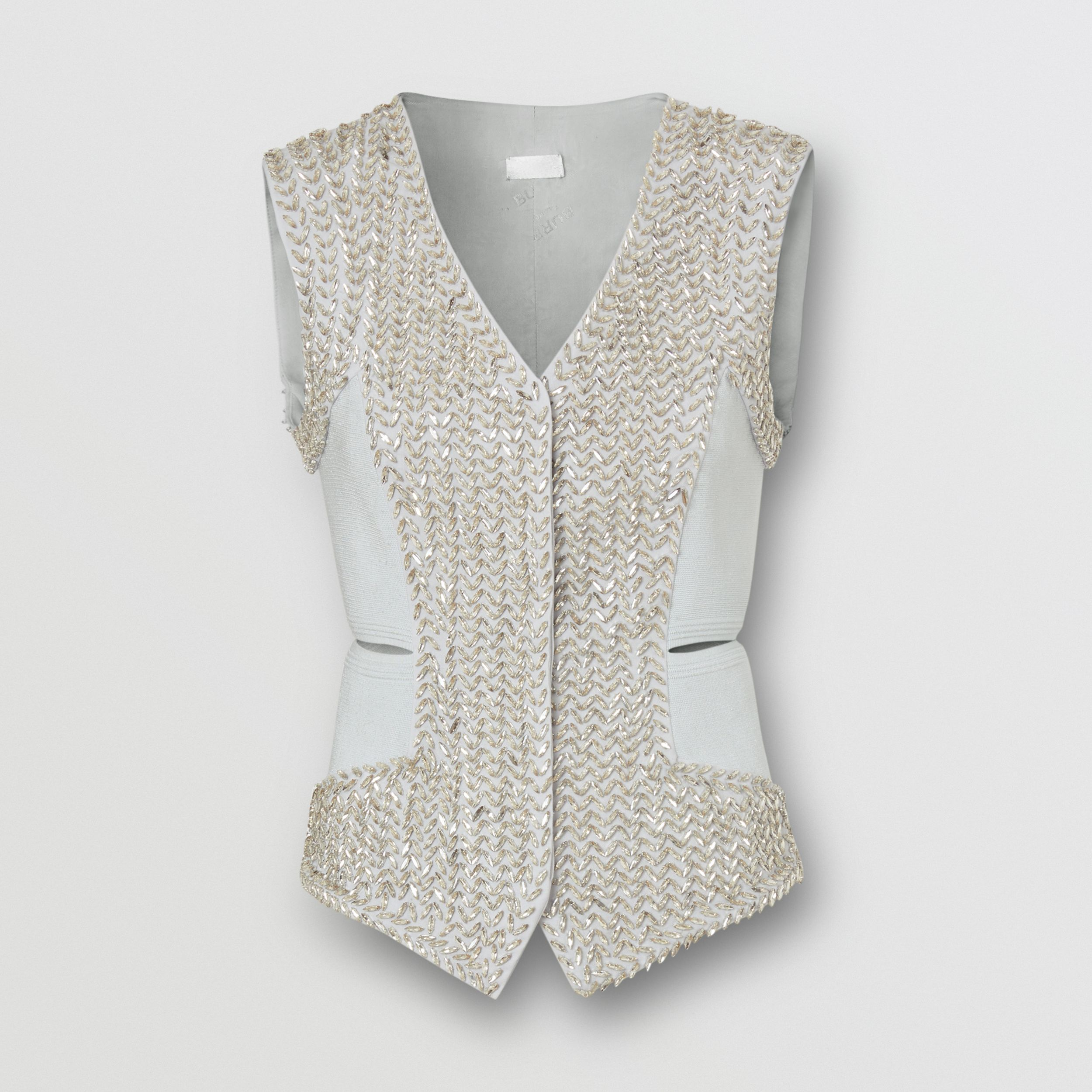 Crystal Embroidered Mohair Wool Cut-out Waistcoat in Light Pebble Grey - Women | Burberry - 4