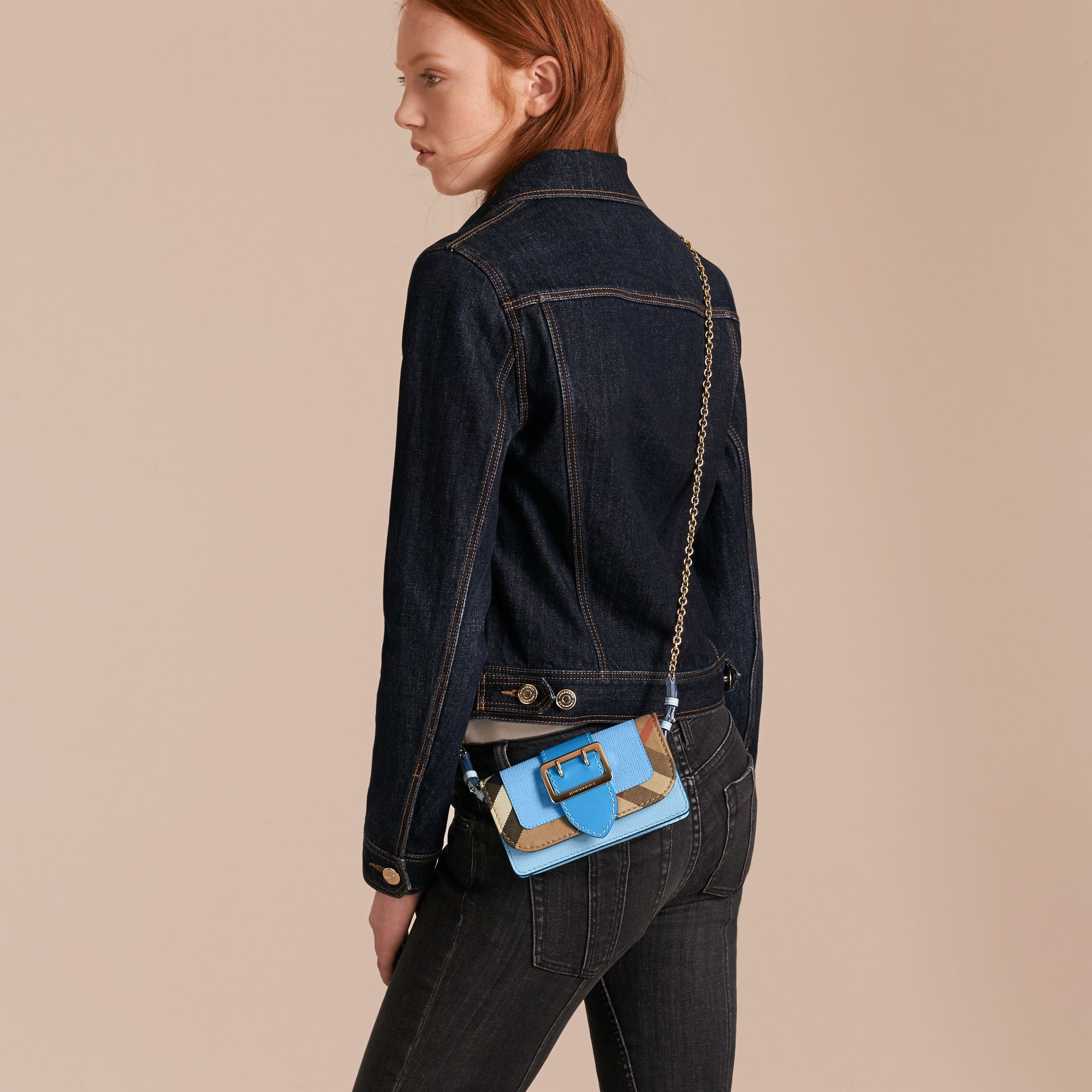 Bright mineral blue The Mini Buckle Bag in Leather and House Check Bright Mineral Blue - gallery image 3