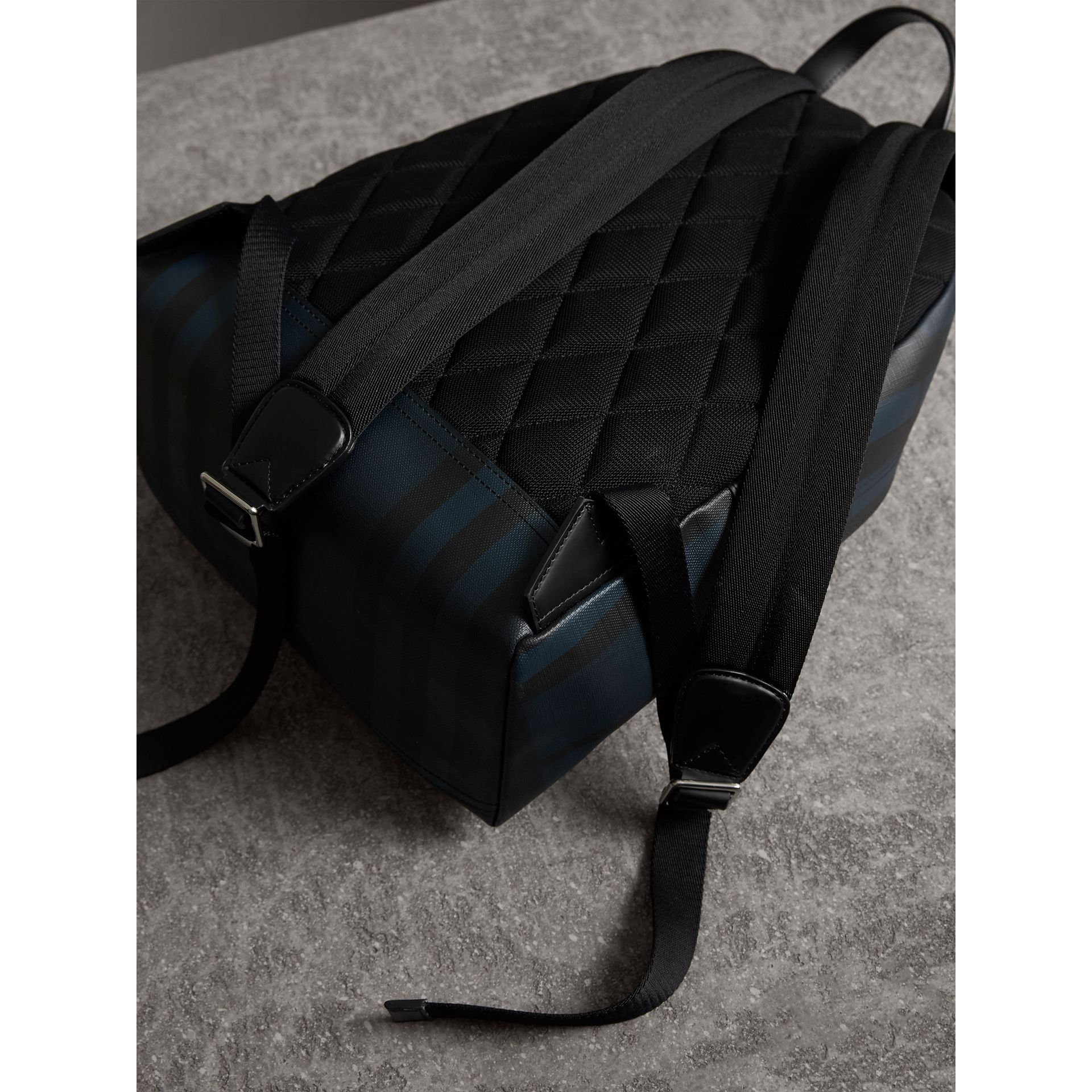 Leather Trim London Check Backpack in Navy/black - Men | Burberry - gallery image 3
