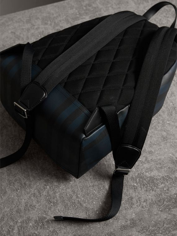 Leather Trim London Check Backpack in Navy/black - Men | Burberry Singapore - cell image 3