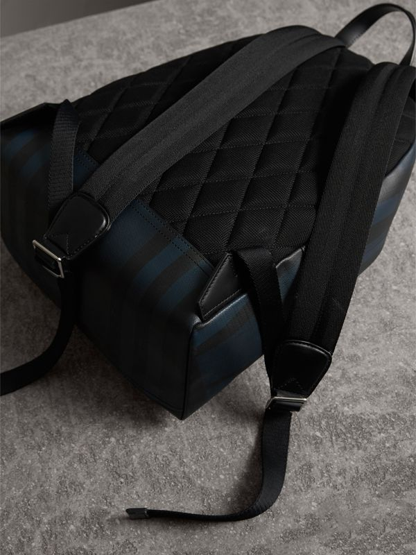 Leather Trim London Check Backpack in Navy/black - Men | Burberry United Kingdom - cell image 3