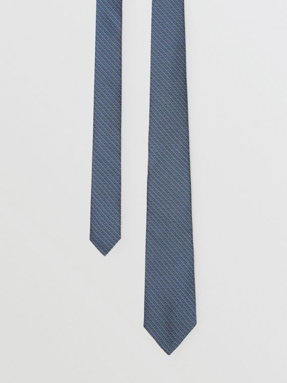 Classic Cut Micro Dot Silk Jacquard Tie in Porcelain Blue