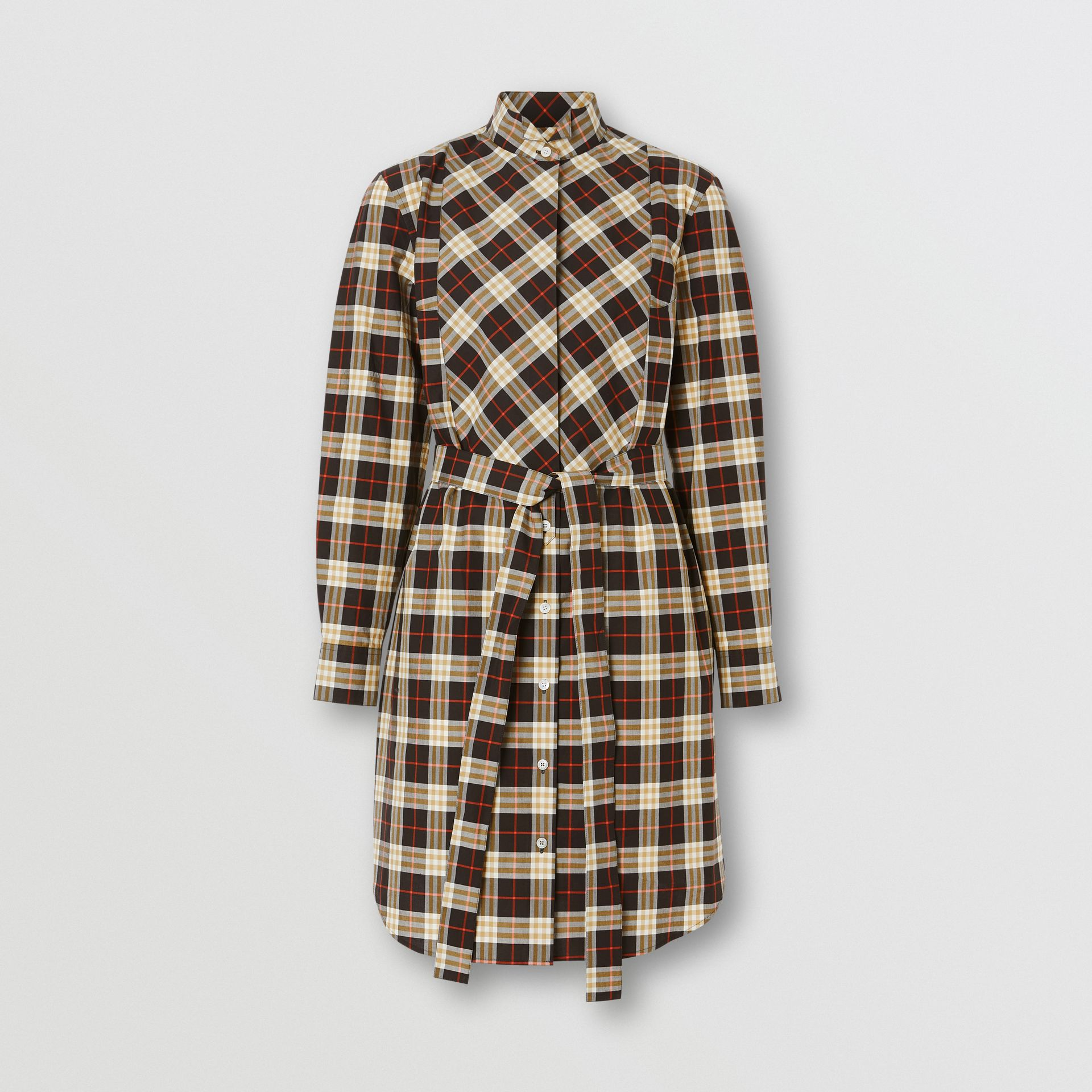 Check Cotton Tie-waist Shirt Dress in Midnight - Women | Burberry United States - gallery image 2