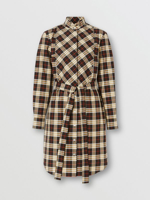 Check Cotton Tie-waist Shirt Dress in Midnight - Women | Burberry - cell image 2