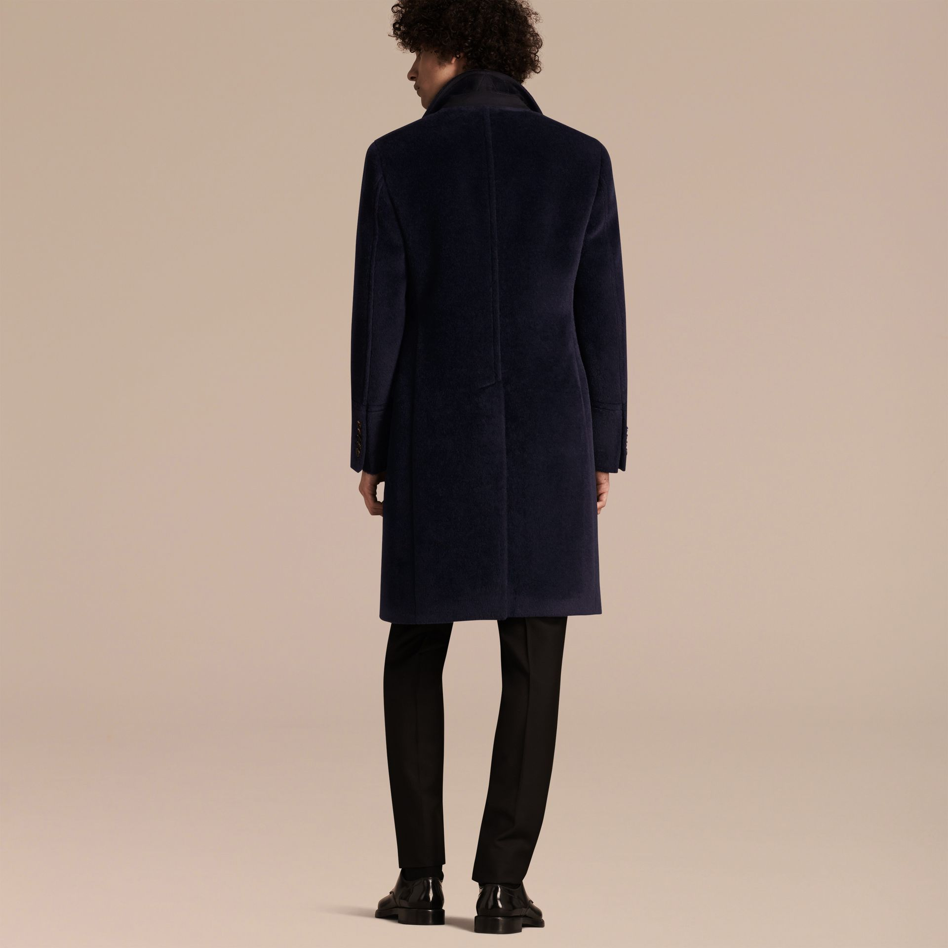 Navy black Alpaca Wool Overcoat - gallery image 3