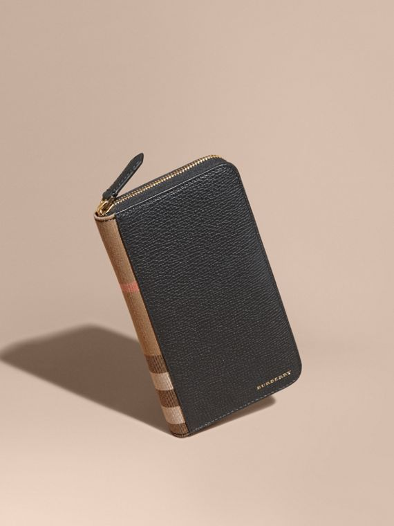 House Check and Grainy Leather Ziparound Wallet in Black