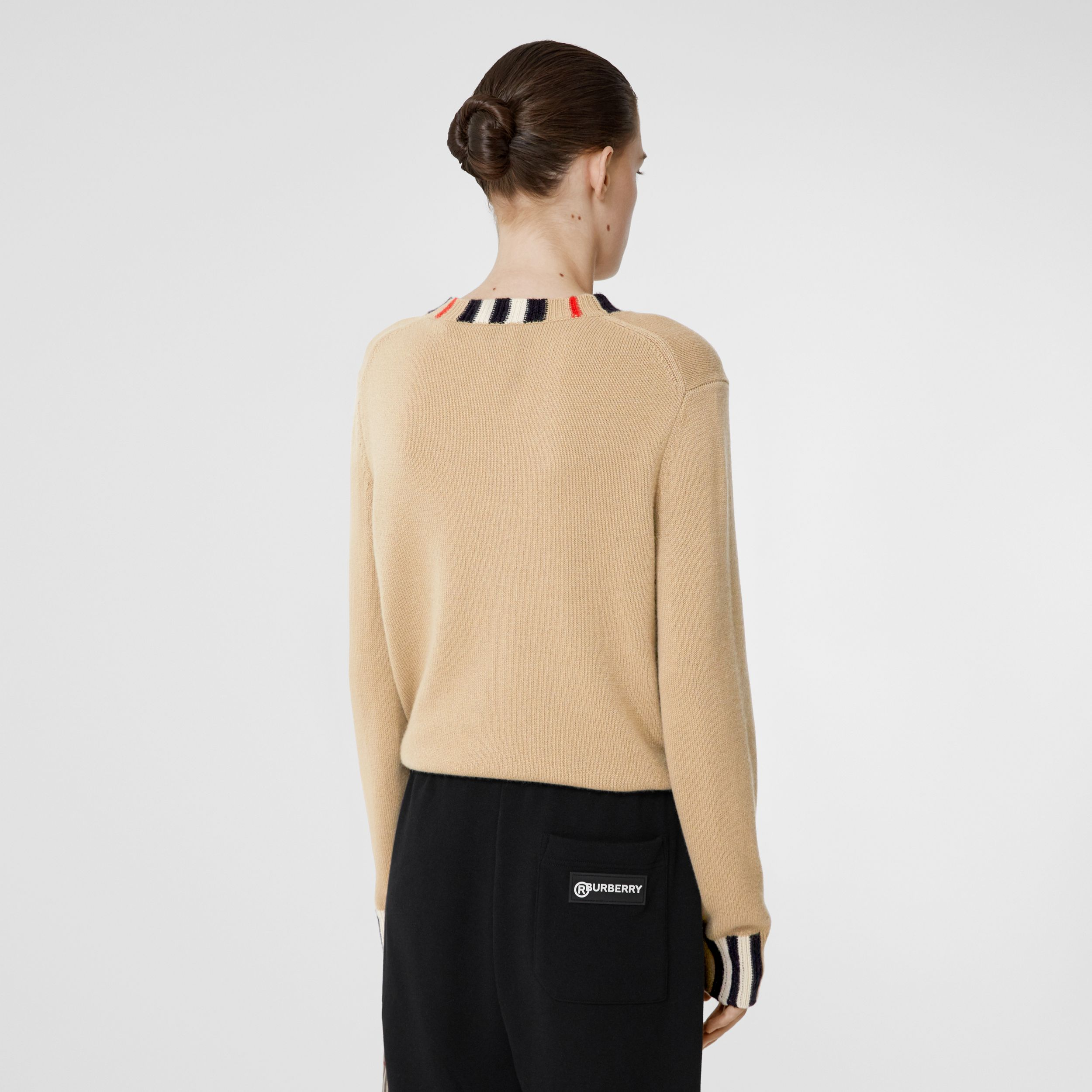 Icon Stripe Trim Cashmere Sweater in Archive Beige - Women | Burberry - 3