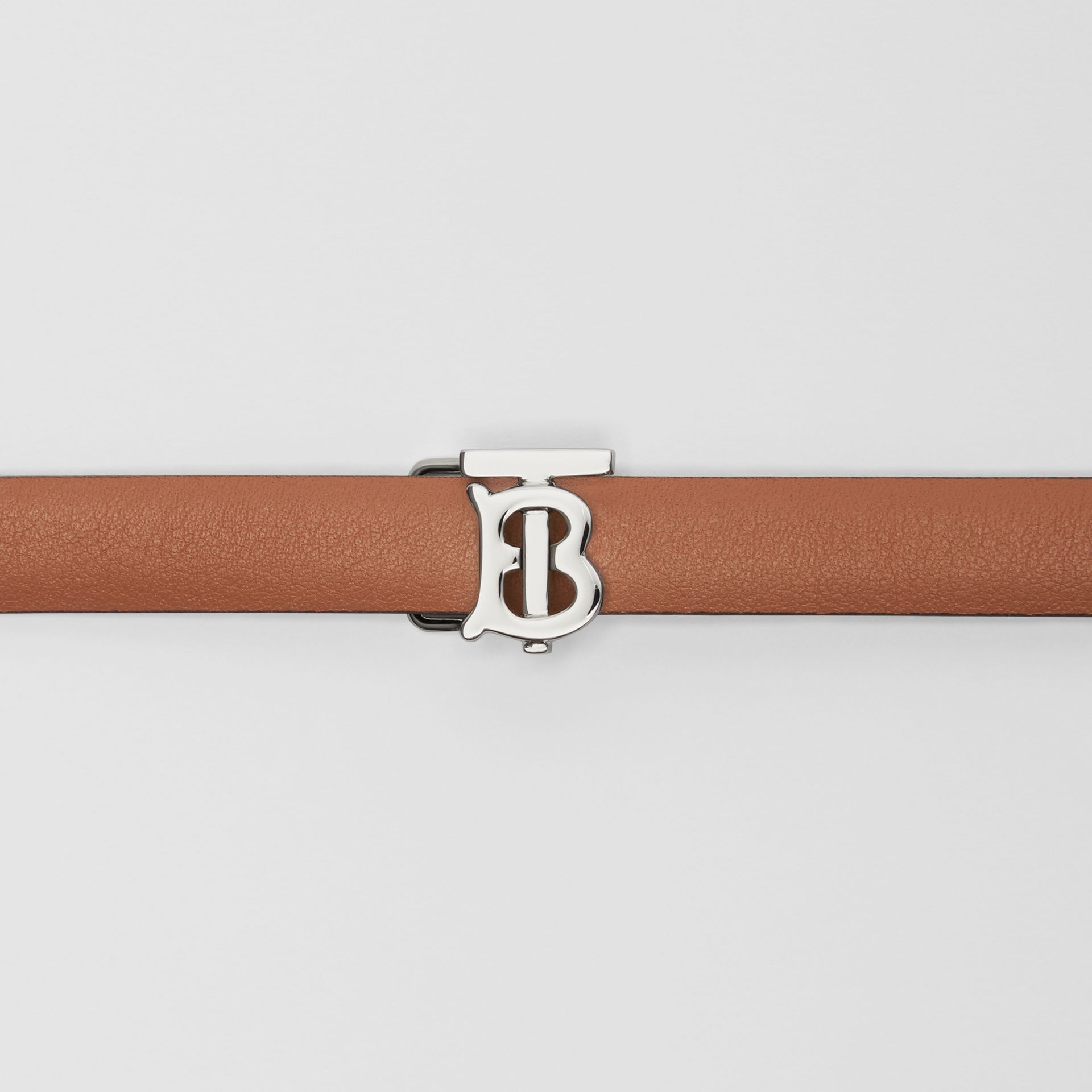 Reversible Monogram Motif Leather Wrap Belt in Malt Brown/black - Women | Burberry Australia - gallery image 1