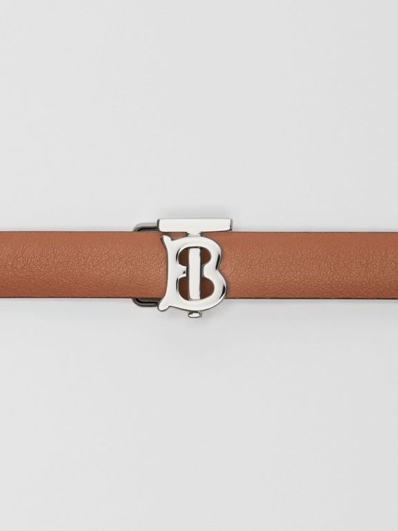Reversible Monogram Motif Leather Wrap Belt in Malt Brown/black - Women | Burberry - cell image 1