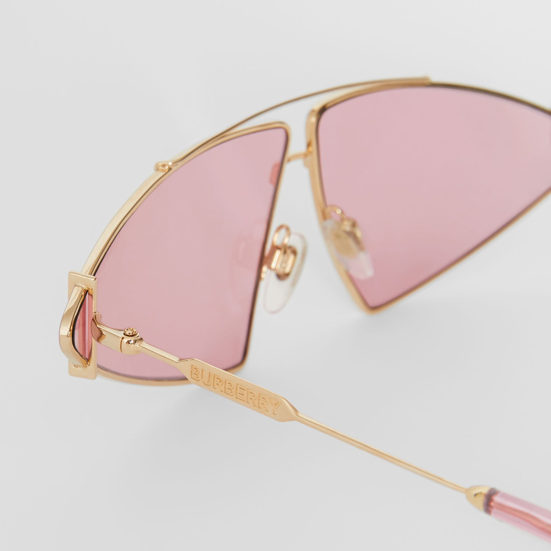Gold-plated Triangular Frame Sunglasses in Blush Pink - Women | Burberry - gallery image 1