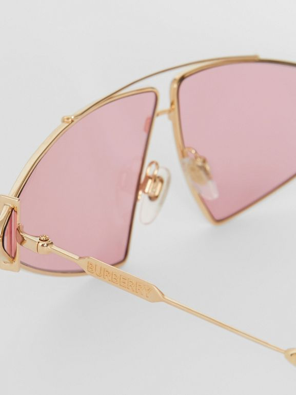 Gold-plated Triangular Frame Sunglasses in Blush Pink - Women | Burberry United Kingdom - cell image 1