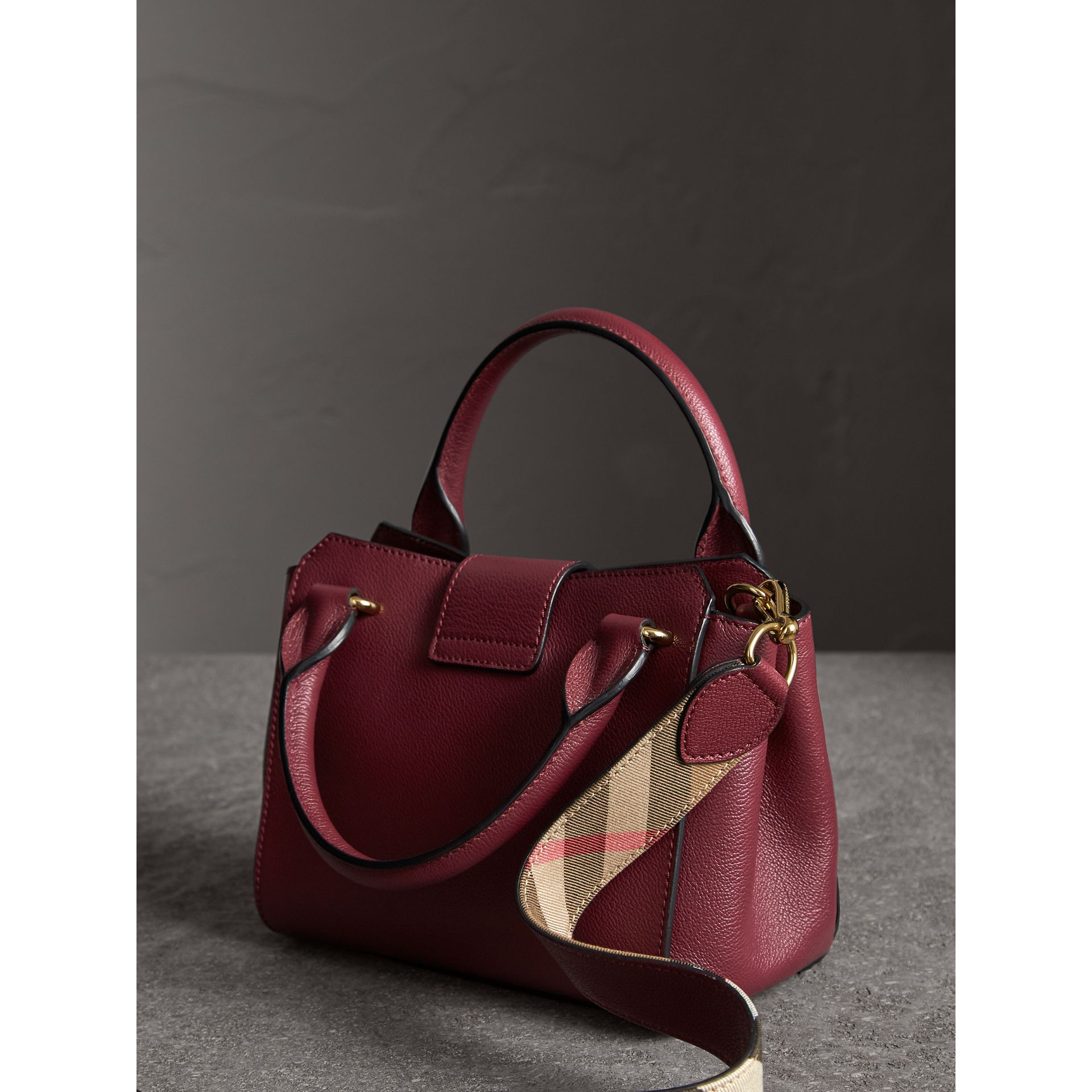 The Small Buckle Tote in Grainy Leather in Dark Plum - Women | Burberry United Kingdom - gallery image 4