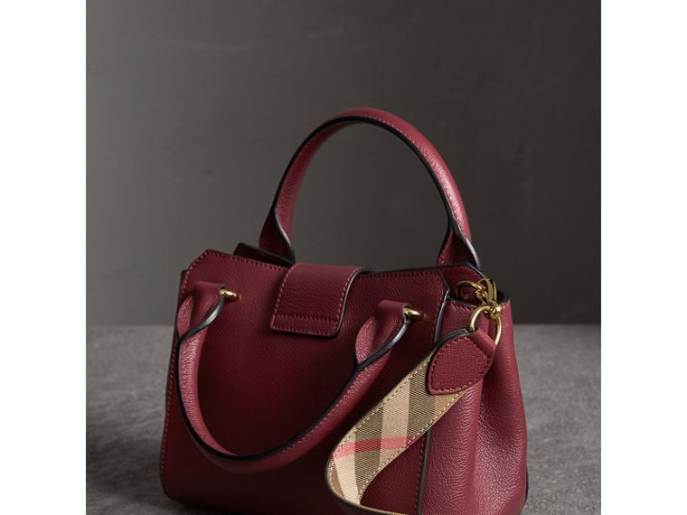 The Small Buckle Tote in Grainy Leather in Dark Plum - Women | Burberry United Kingdom - cell image 4