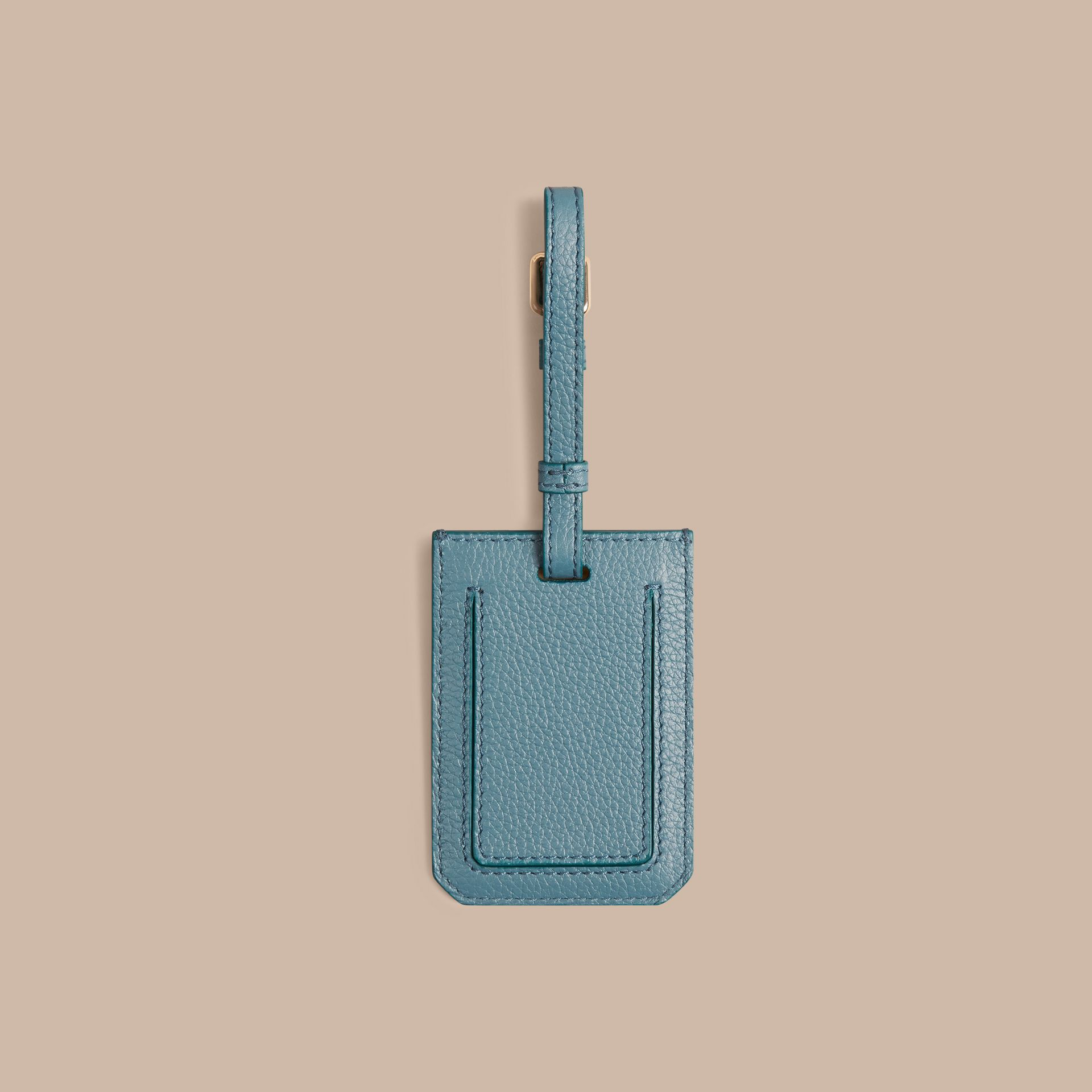 Grainy Leather Luggage Tag in Dusty Teal - gallery image 2
