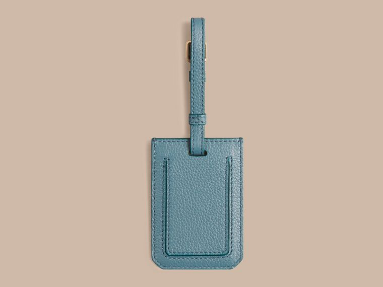 Grainy Leather Luggage Tag in Dusty Teal | Burberry Canada - cell image 1
