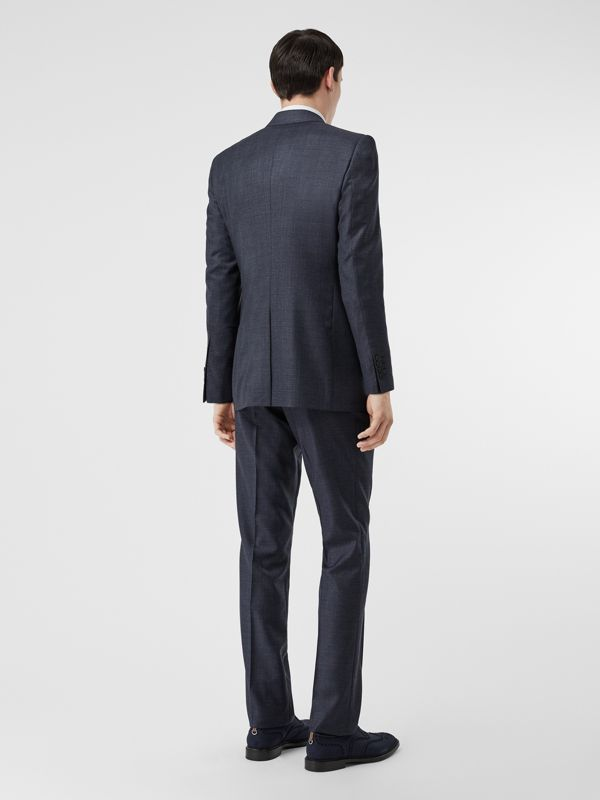 Classic Fit Check Wool Three-piece Suit in Steel Blue - Men | Burberry - cell image 2