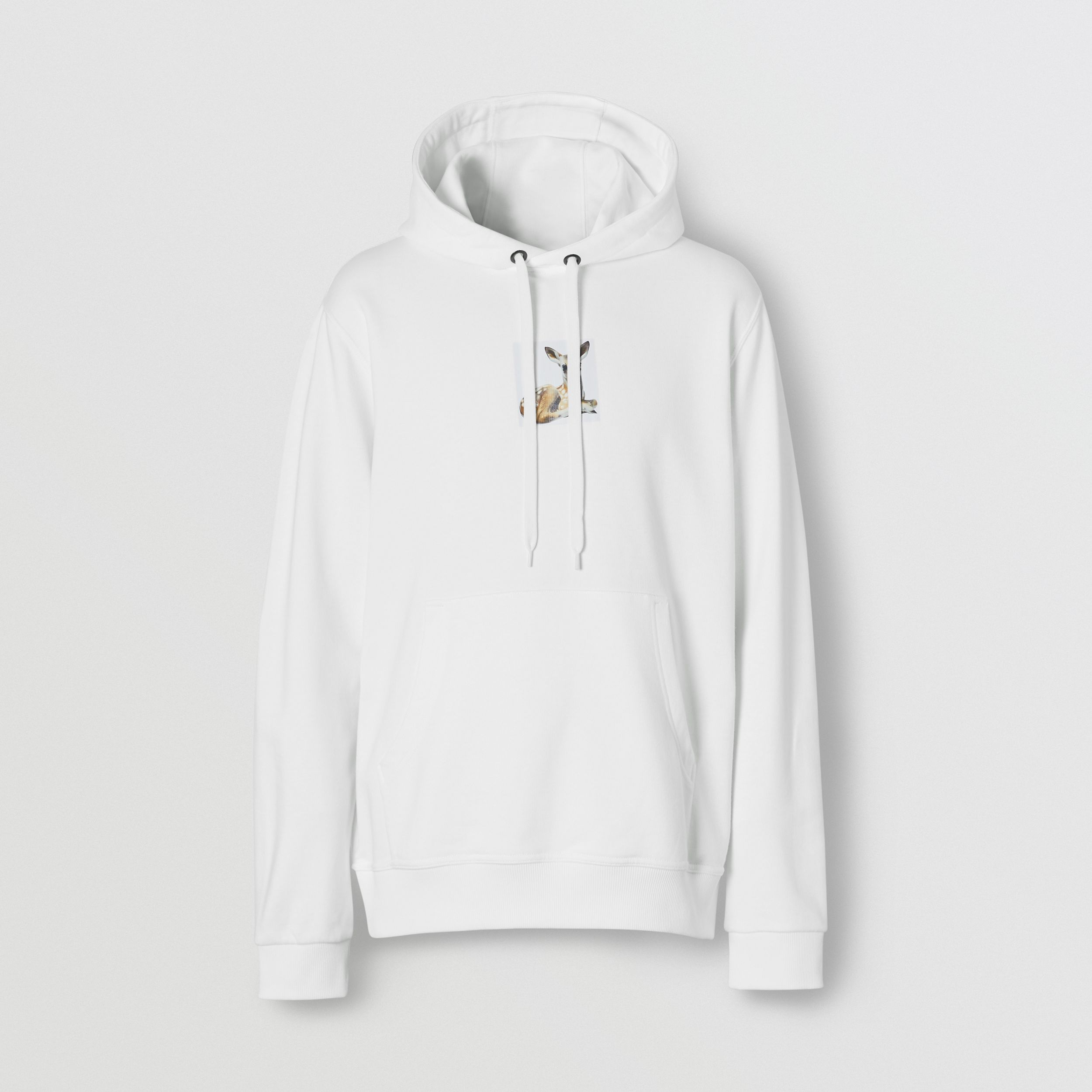 Deer Print Cotton Hoodie in White - Men | Burberry - 4