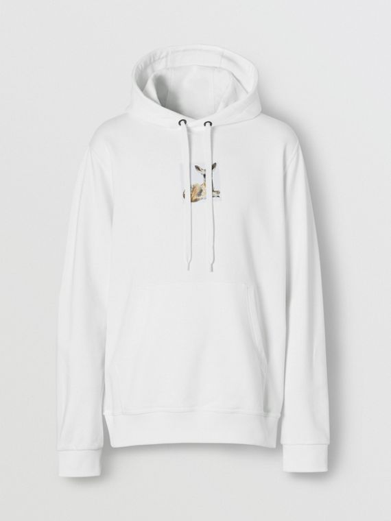 Deer Print Cotton Hoodie in White