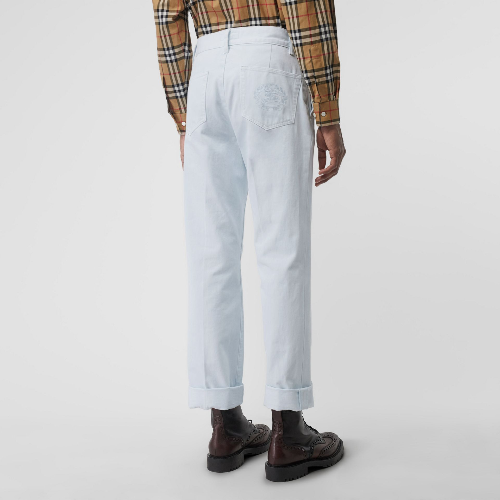 Embroidered Crest Relaxed Fit Jeans in Chalk Blue - Men | Burberry United Kingdom - gallery image 2