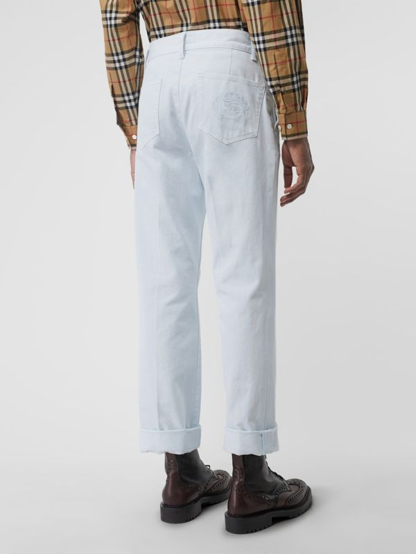 Embroidered Crest Relaxed Fit Jeans in Chalk Blue - Men | Burberry United States - cell image 2