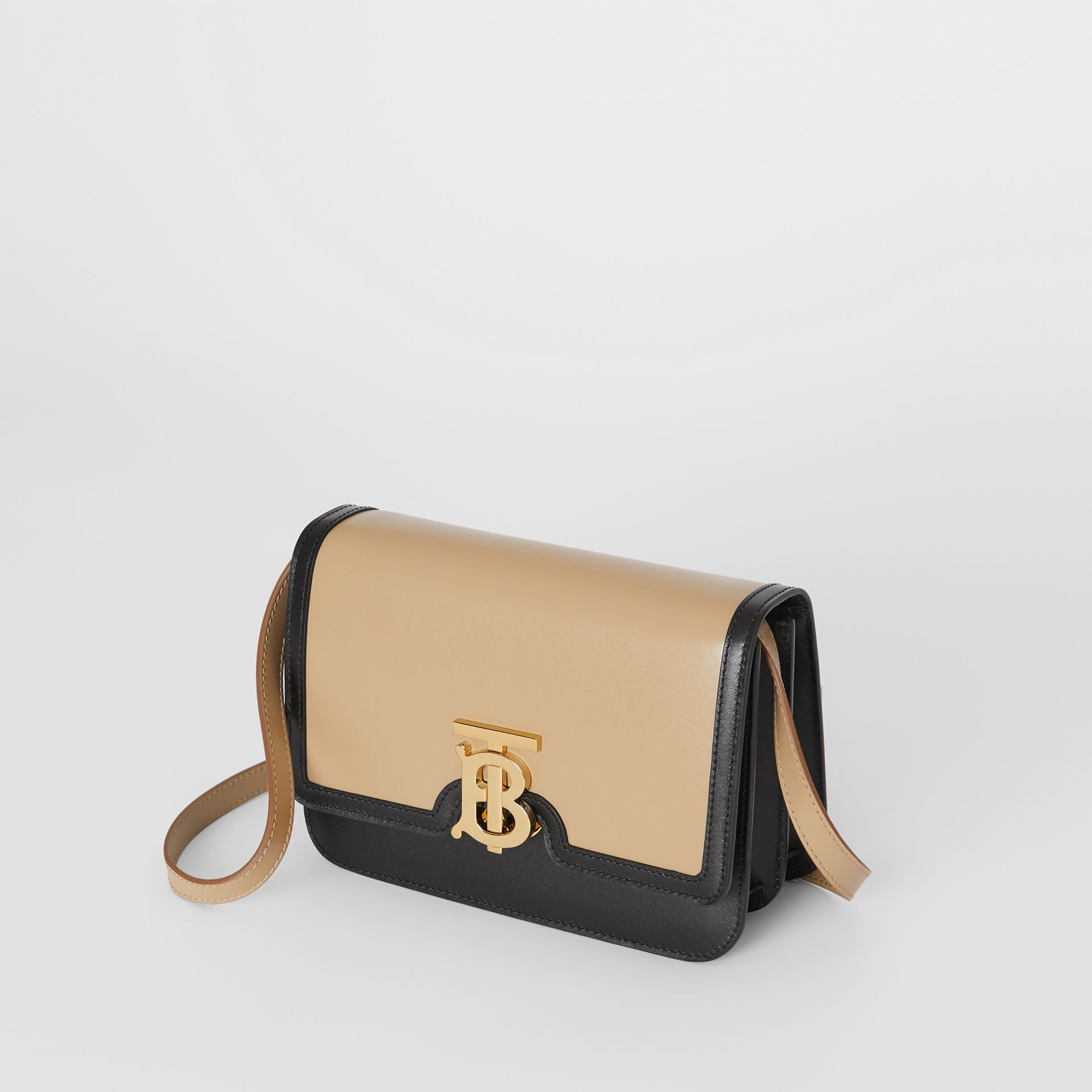 Small Two-tone Leather TB Bag in Honey/black - Women | Burberry - gallery image 3