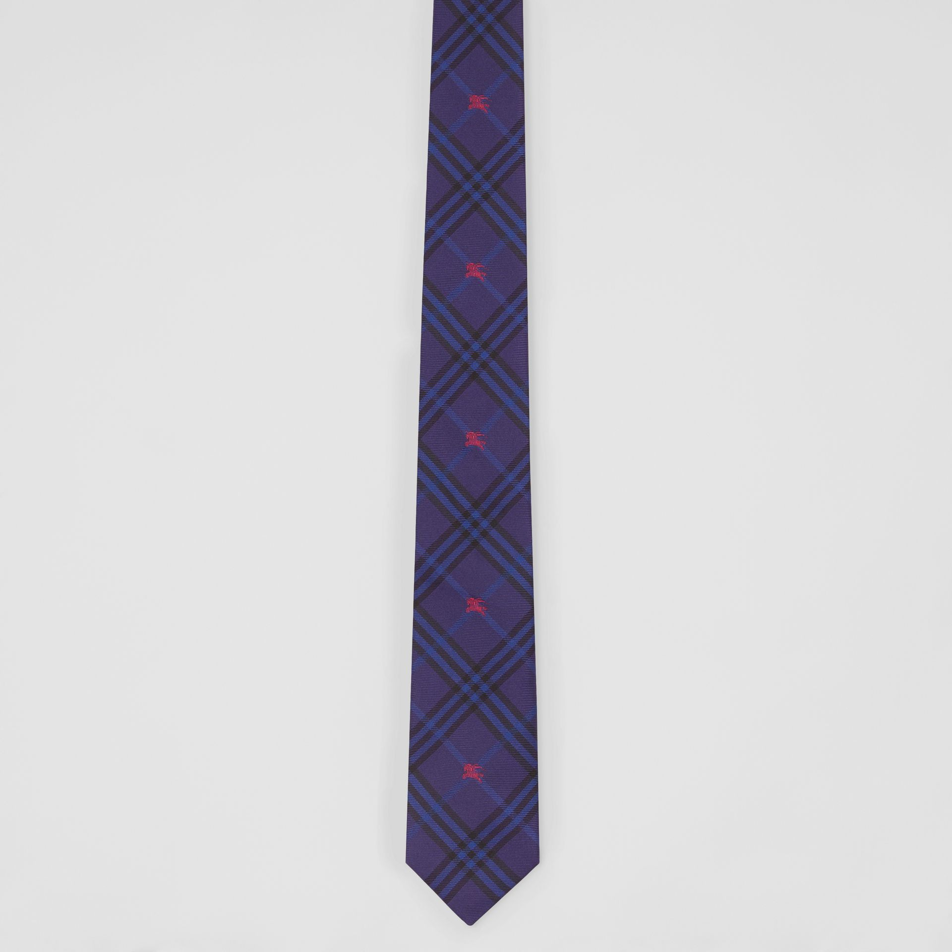 Slim Cut Equestrian Knight Check Silk Tie in Dark Indigo Blue - Men | Burberry - gallery image 4