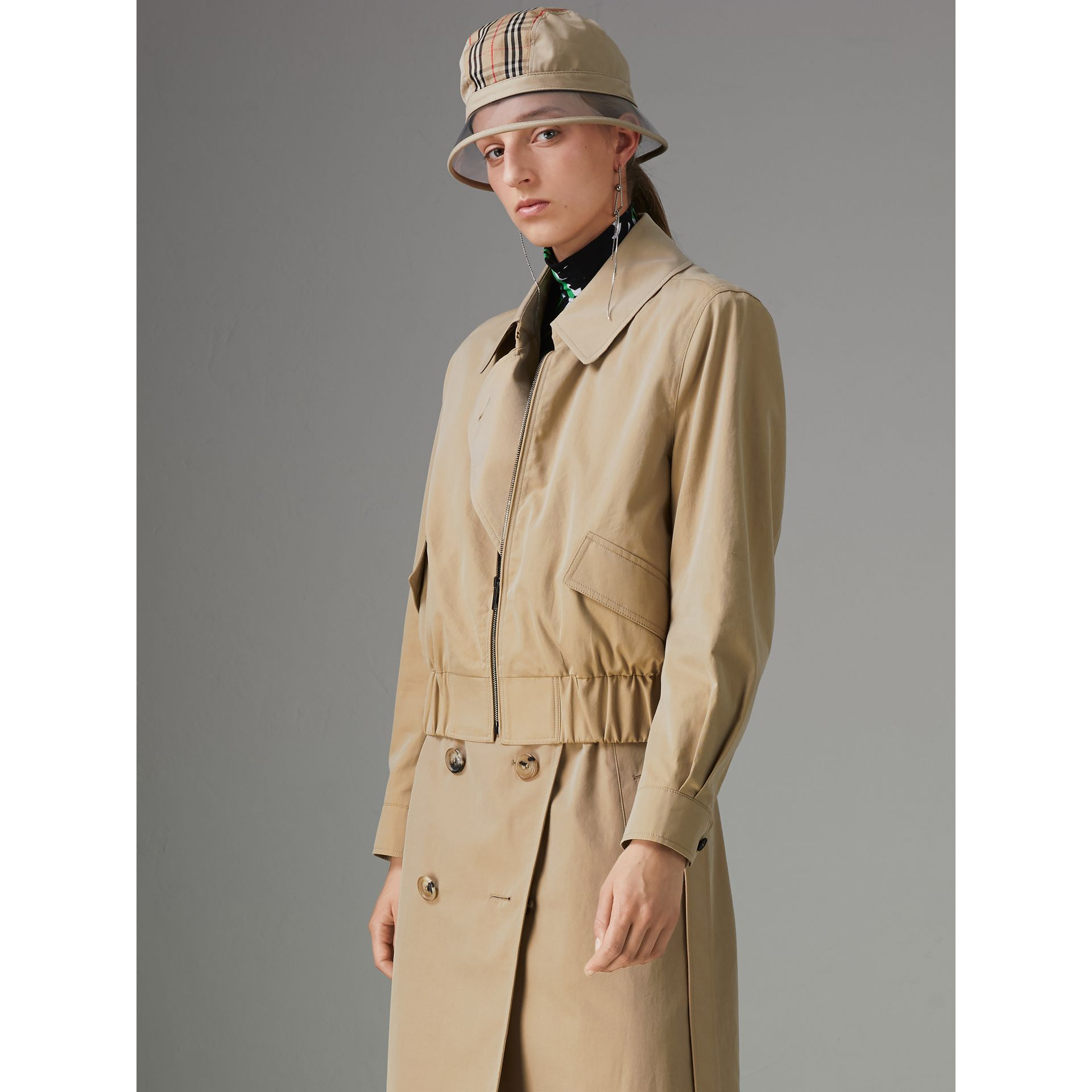 Tropical Gabardine Reconstructed Harrington Trench Coat in Honey - Women | Burberry United States - gallery image 1