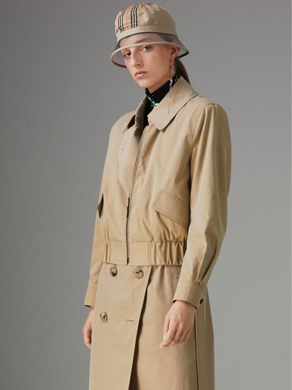 Tropical Gabardine Reconstructed Harrington Trench Coat in Honey - Women | Burberry - cell image 1